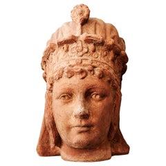 20th Century Saba Queen Head, Italian Terracotta Decor