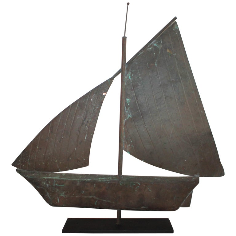 20th Century Sailboat Weather Vane on Custom Iron Stand For Sale