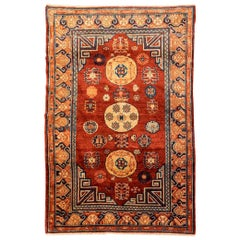 20th Century Samarkand Wool Rug, Kothan Design, Caramel Colors, circa 1900