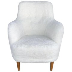 20th Century Samsas Chair, Swedish Sheepskin FÅTÖLJ, Armchair by Carl Malmsten