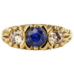 20th Century Sapphire Diamonds 18 Karat Yellow Gold Garter Ring