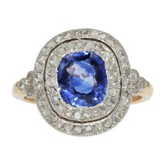 20th Century Sapphire Double Row Diamonds 18 Karat Yellow Gold Ring
