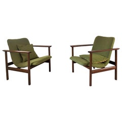 20th Century Scandinavian Modern Green Armchairs Reupholstered, Set of 2