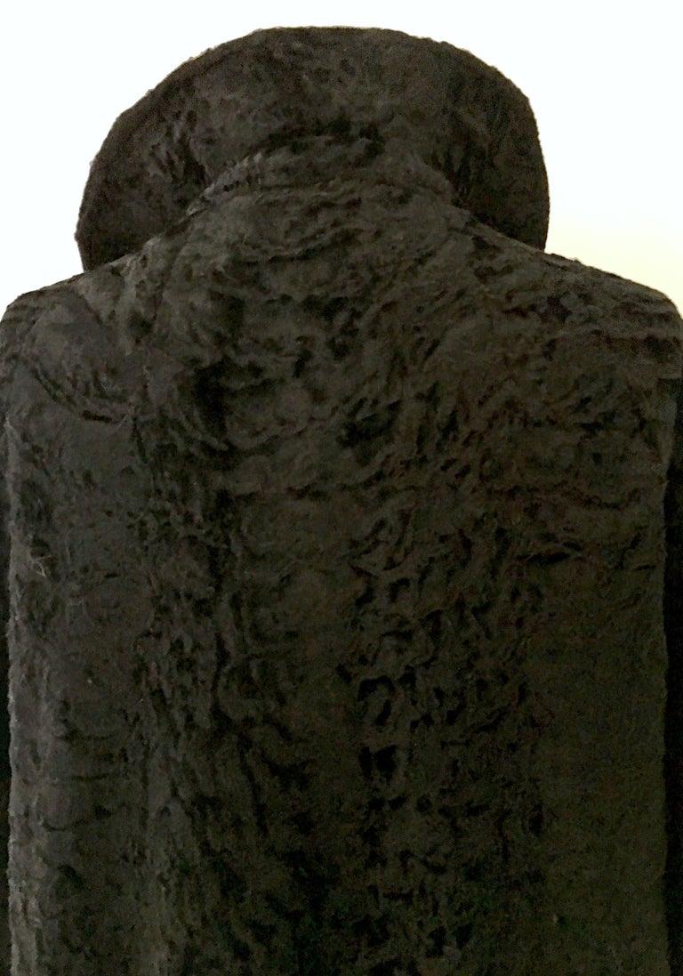 20th Century Sculptural Persian Jet Black Lamb Fur Swing Car Coat For Sale 6