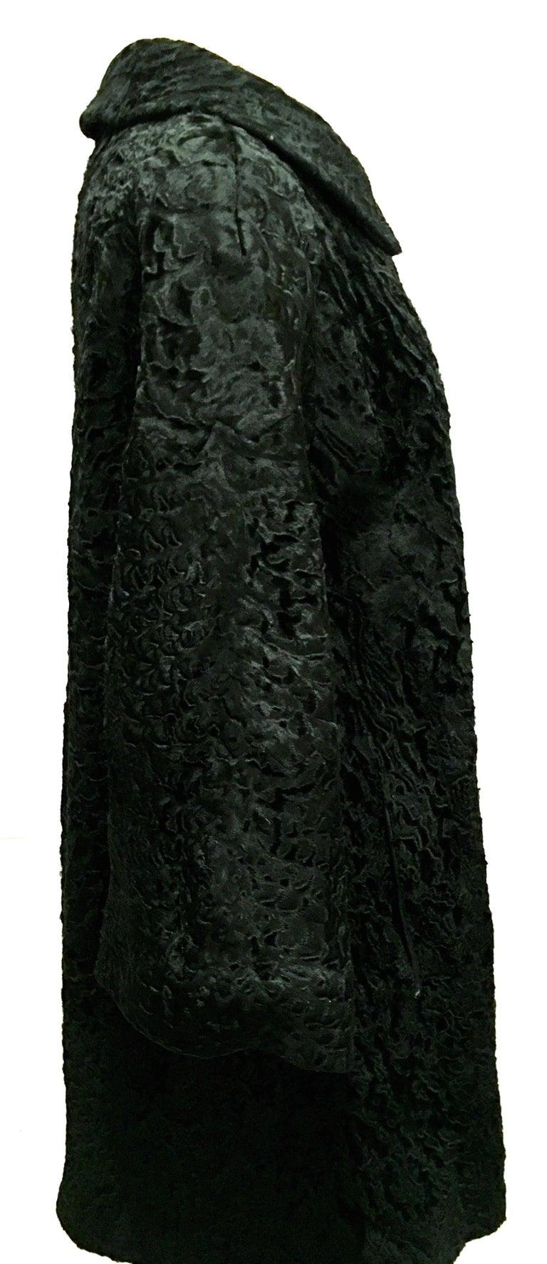 Women's or Men's 20th Century Sculptural Persian Jet Black Lamb Fur Swing Car Coat For Sale