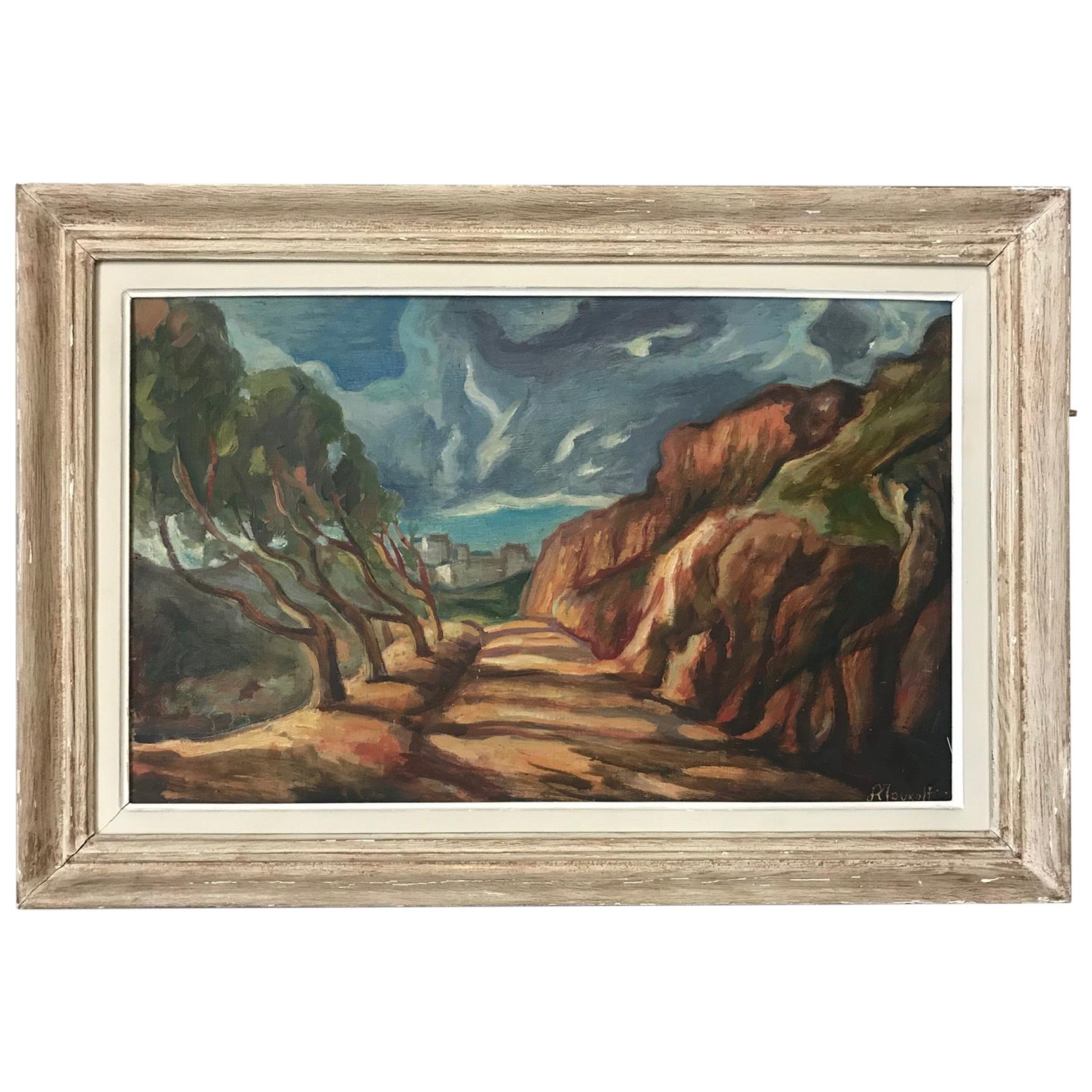 20th Century Seaside Landscape Painting, 1940s