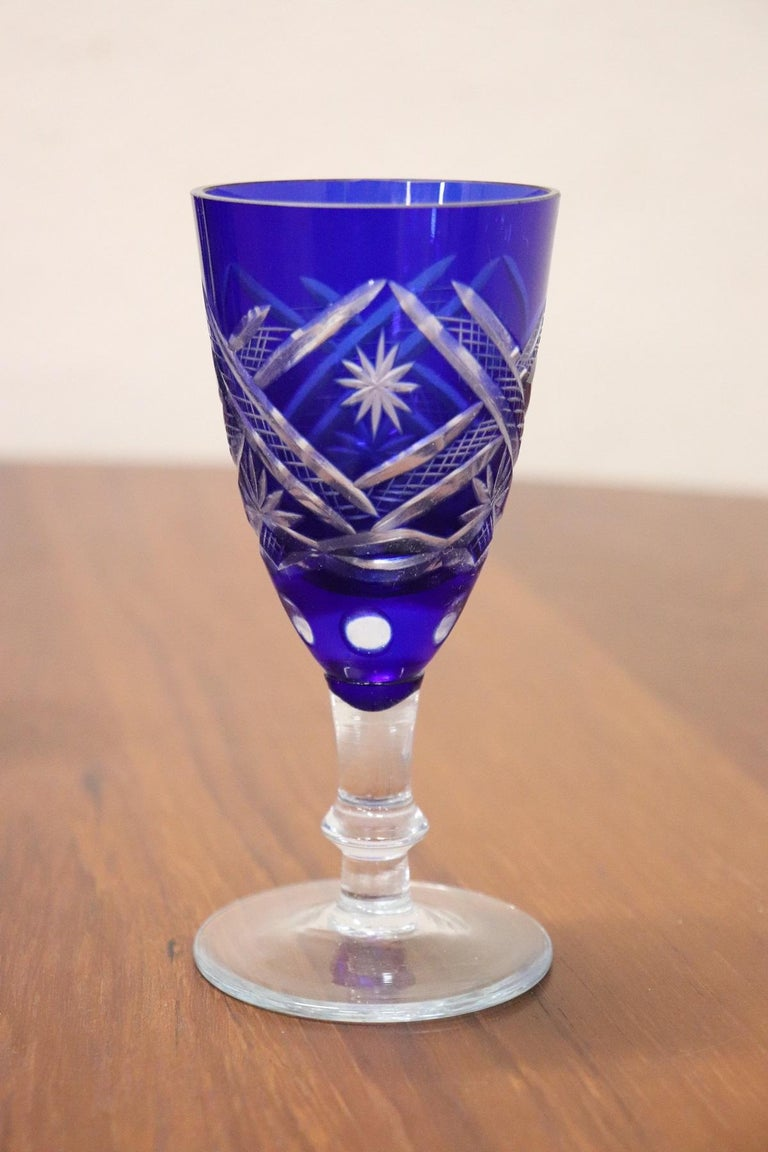 20th Century Service of Glasses in Blue Color Crystal, Set of 6 In Excellent Condition For Sale In Bosco Marengo, IT