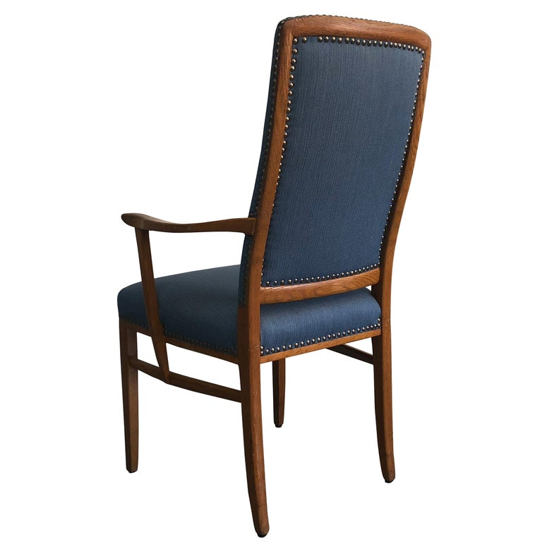 Hand-Carved 20th Century Swedish Set of 21 Birchwood Blue Armchairs by Carl Malmsten For Sale
