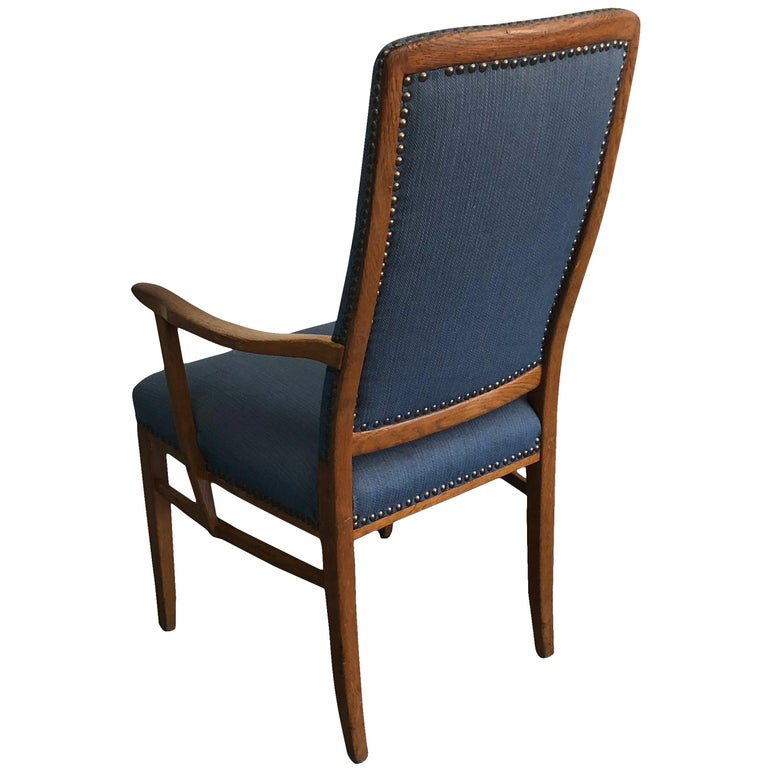 20th Century Swedish Set of 21 Birchwood Blue Armchairs by Carl Malmsten In Good Condition For Sale In West Palm Beach, FL