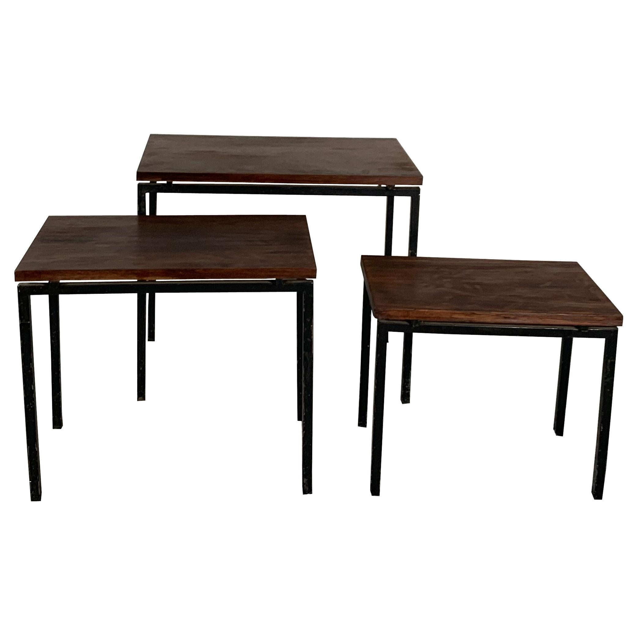 20th Century Set of 3 Nesting Tables by Cees Braakman, 1960's