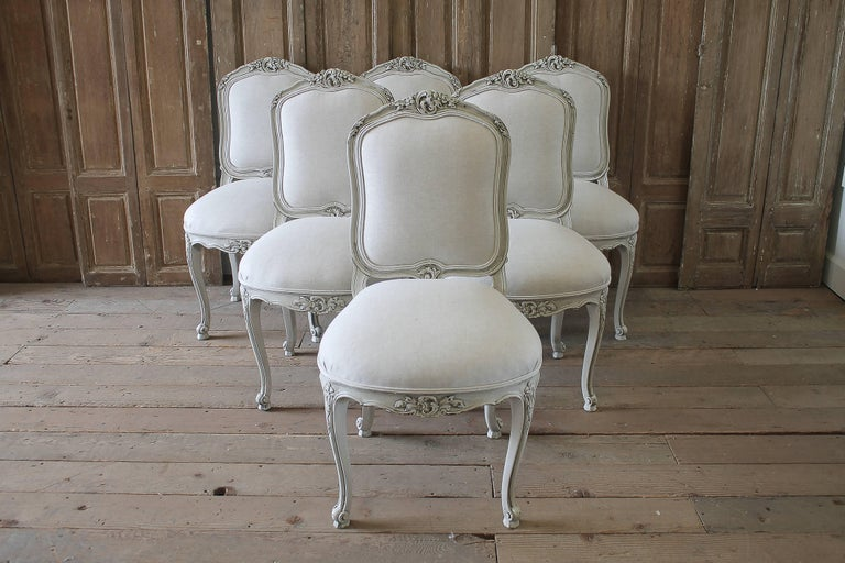 20th Century Set Of Six Carved French Dining Chairs Upholstered In Belgian Linen Painted Our