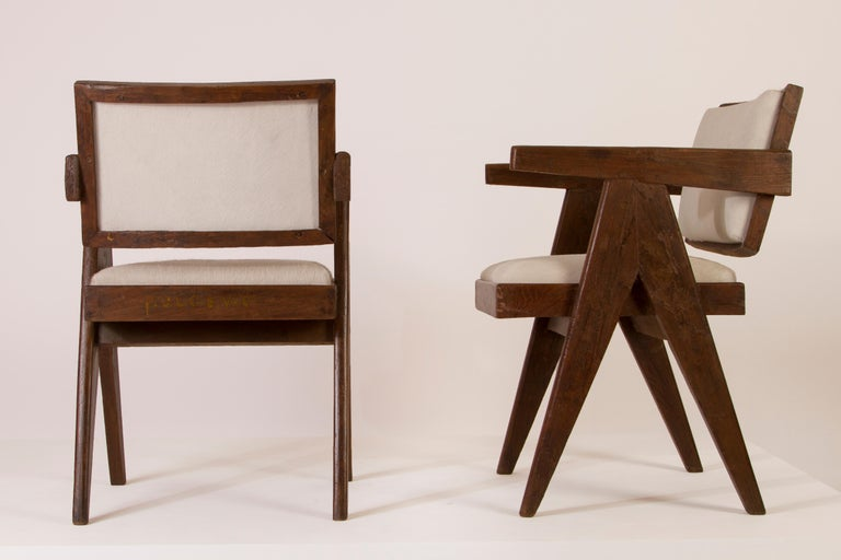 Mid-Century Modern Pierre Jeanneret Set of '8 Floating Back Upholstered Armchairs, Circa 1958