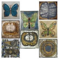 20th Century Set of 8 Authentic Ceramic Tiles Lisa Larson for Gustavson, 1970s