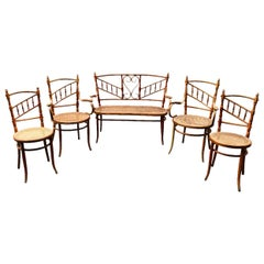 20th Century Set of Asymmetrical Fischel Bench, Two Armchairs and Two Chairs