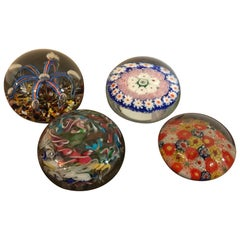 20th Century Set of Colored Vintage Art Glass Paperweights