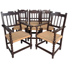20th Century Set of Eight Catalan Chairs/Armchairs in Walnut and Caned Seats