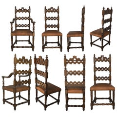 20th Century Set of Eight Catalan Chairs/Armchairs in Walnut and Leather Seats