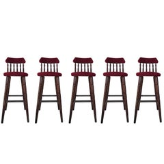20th Century Set of Five Upholstered Bar Stools in Walnut and Red Velvet