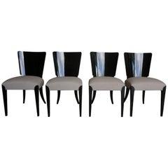 20th Century Set of Four Black Ebonized Art Deco Chairs by Jindrich Halabala