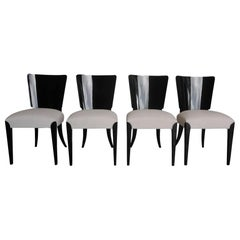20th Century Set of Four Black Ebonized Art Deco Chairs by Jindrich Halabala
