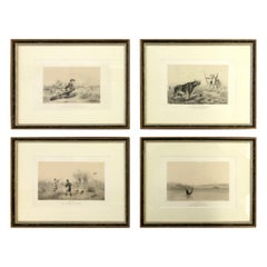 20th Century Set of Four French Hunting Theme Engravings on a Paper