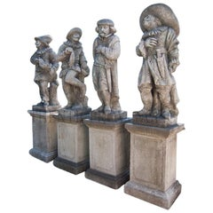 20th Century Set of Four Harlequin Garden Statues in Limestone