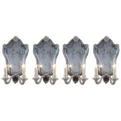 20th Century Set of Four Italian Venetian Glass Sconces with Mirror