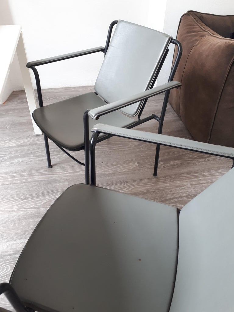 Set of Four Office Chairs in Metal and Leather by FRAU, 1980s  In Good Condition In Montecatini Terme, IT