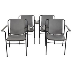 Set of Four Office Chairs in Metal and Grey Leather by FRAU