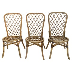 20th Century Set of Fourteen Rattan Bistro Chairs in the Style of Franco Albini