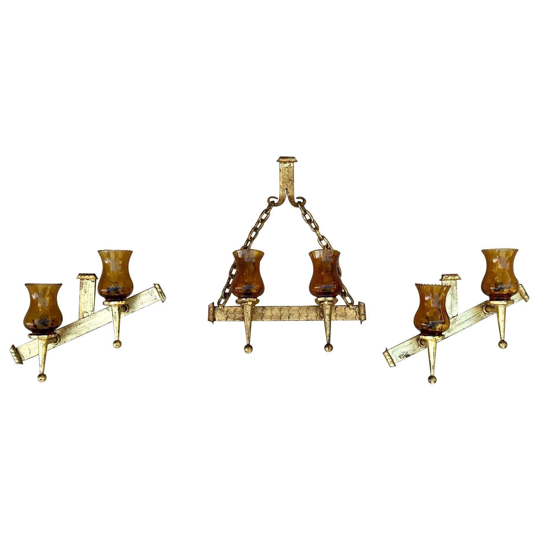 20th Century Set of French Decorative Gilt Wrought Iron Sconces