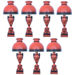 20th Century Set of Seven Red Sang De Boeuf Table Lamps with Ornamental Motifs