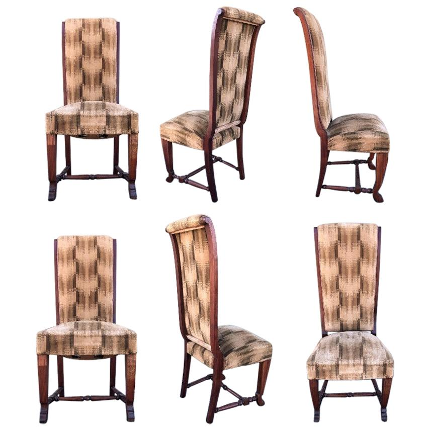 20th Century Set of Six Deco Dark Walnut Refinished Tall Back Dining Chairs