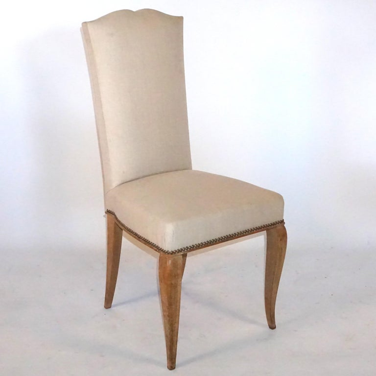 20th Century Set of Six French Oak Dining Chairs In Good Condition For Sale In West Palm Beach, FL