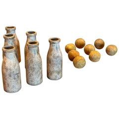 20th Century, Set of Six Lawn Bowling Pins and Six Balls