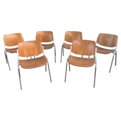 20th Century Set of Six Vintage Wooden Giancarlo Piretti Chairs, 1960s