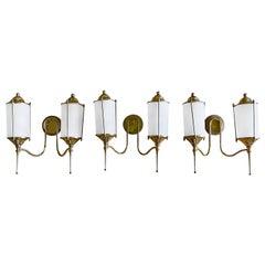 20th Century Set of Three Double Light Appliqués, Italian Brass Wall Sconces