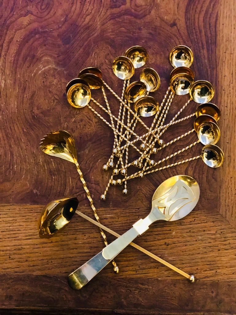 Metal 20th Century Set of Twenty-Pieces Gold-Plated Dessert Spoons For Sale