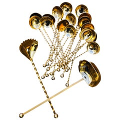 20th Century Set of Twenty-Pieces Gold-Plated Dessert Spoons