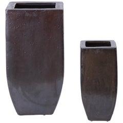 20th Century Set of Two Brown Ceramic Vases