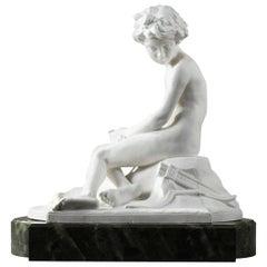 20th Century Sèvres Porcelain Bisque Amour Boudeur by Alfred Boucher