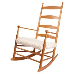 20th Century Shaker Birch Ladder-Back Rocking Chair
