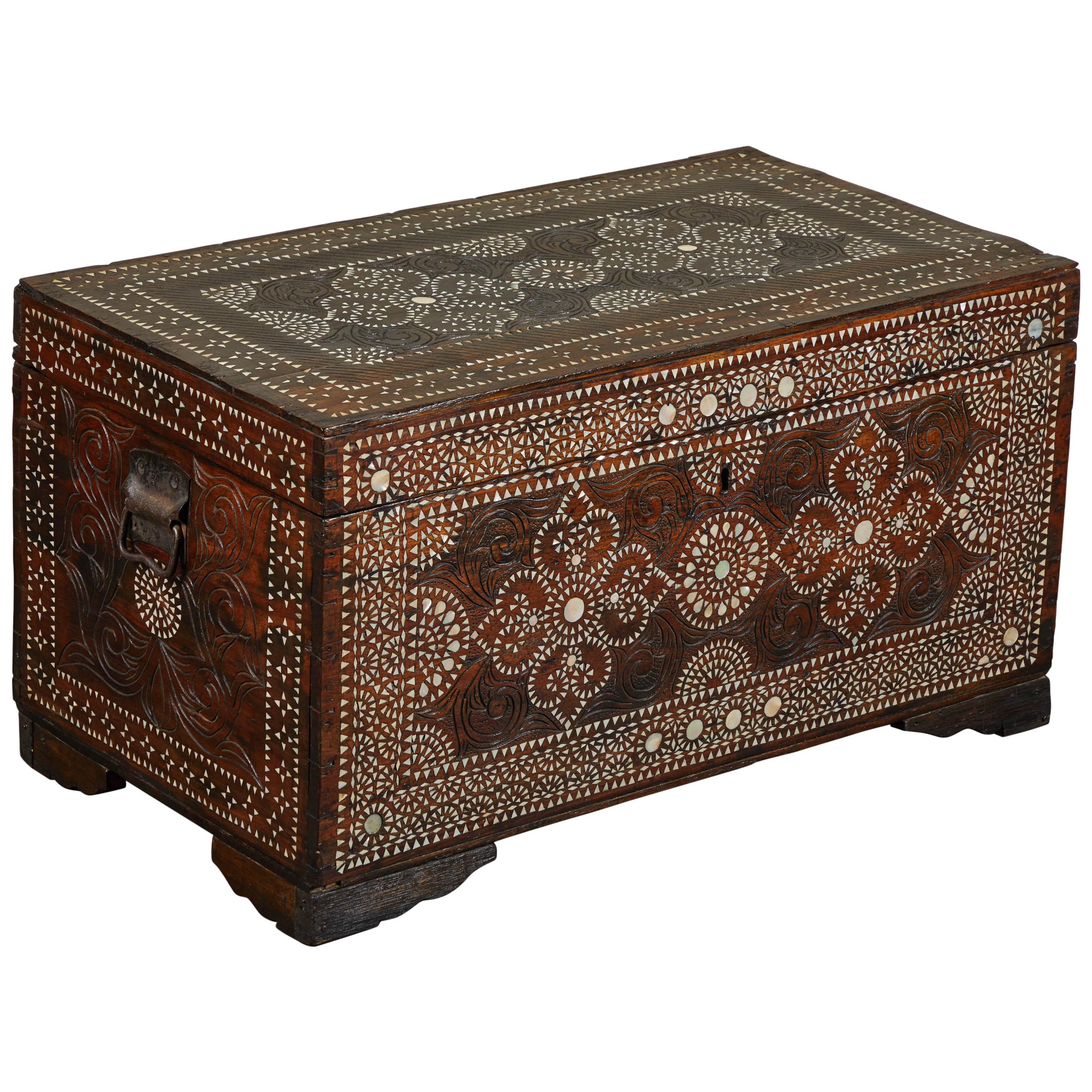 20th Century Shell Inlaid Filipino Trunk For Sale