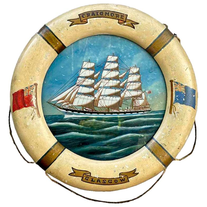 "20th Century Ship Painting ""Crown of Denmark"", Oil on Board, in Life Ring Frame"