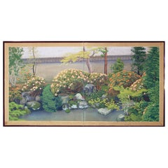 20th Century Showa Period Beautiful Spring Garden Folding Screen Two Panels