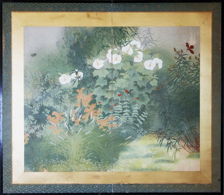 Oriental Spring Garden: Japanese two-panel screen painted on rice paper from the Showa period.