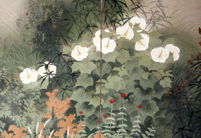 Japanese 20th Century Showa Period Garden Folding Screen Two Panels For Sale