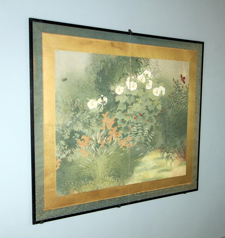 Paper 20th Century Showa Period Garden Folding Screen Two Panels For Sale