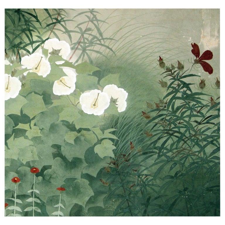 20th Century Showa Period Garden Folding Screen Two Panels For Sale