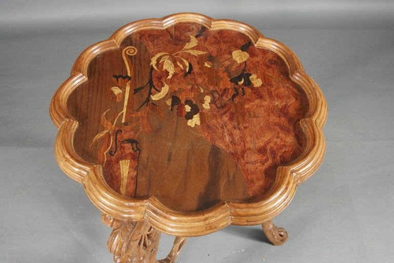Wood 20th Century Side Table E. Gallé, Art Nouveau For Sale
